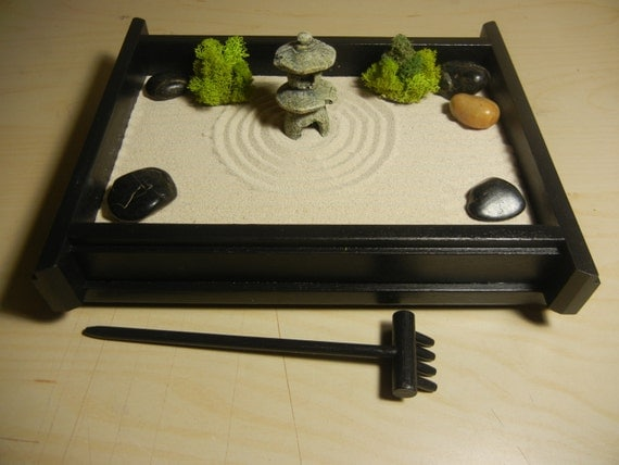 S 03p small desk or table top zen garden by critterswoodworks for Table zen garden