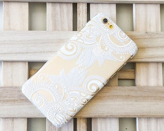 """Clear Plastic Case Cover for iPhone 6 (4.7"""") Henna Efflorescent Floral paisley"""