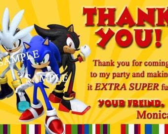 Sonic the Hedgehog Thank You Card Sonic Invitation Sonic Party Personalized Photo Birthday Invitation You Print Digital File