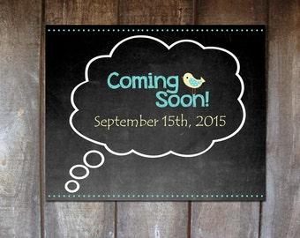 Editable Pregnancy Announcement / 8x10 Coming Soon Chalkboard Digital Print / Blue Boy / Printable PDF Instant Download