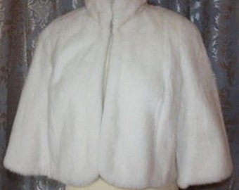 Faux Fur Capelet Bride's Cape Winter Wedding Coat Available in Winter white or Ivory faux fur