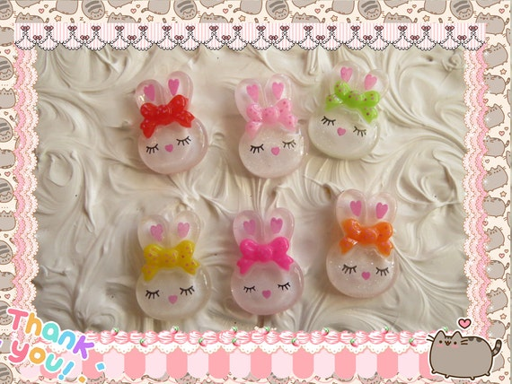 0: )- CABOCHON -( Clear Glitter Rabbit Bunny Usagi Super CUTE