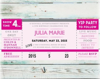 Printable Concert Ticket Birthday Invitation - Digital File