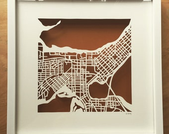 Madison Wisconsin Framed Cut Out Map