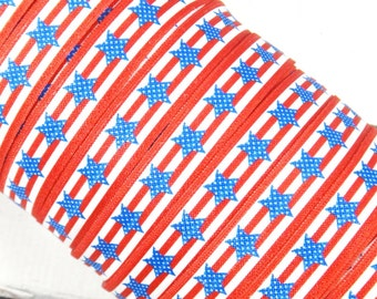 "Red and White Stripes with Blue Stars 5/8"" Fold Over Elastic 1, 3, 5 or 10 yards"