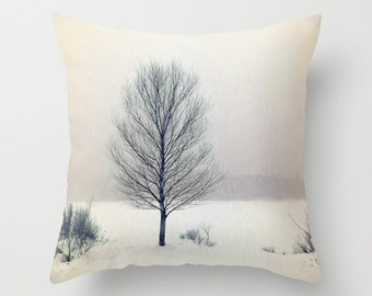 Birch Tree, Pillow Cover,16x16,18x18,20x20,home decoration,winter decor,interior design,muted colors, tree,winter,nature,snow,country living