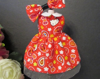 Blythe Doll Outfit Kitty Print Red dress + Hair Bow