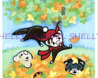"""Art by Shelly Mundel. Ferret People Collection """"Fall Fuzzies"""" 8x10 Canvas Cloth Print"""