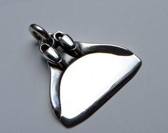 Monofin freediving necklace , silver pendant.