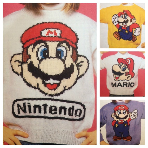 Knitting Patterns For Childrens Characters : Super Mario knitting pattern sweaters for children and adults