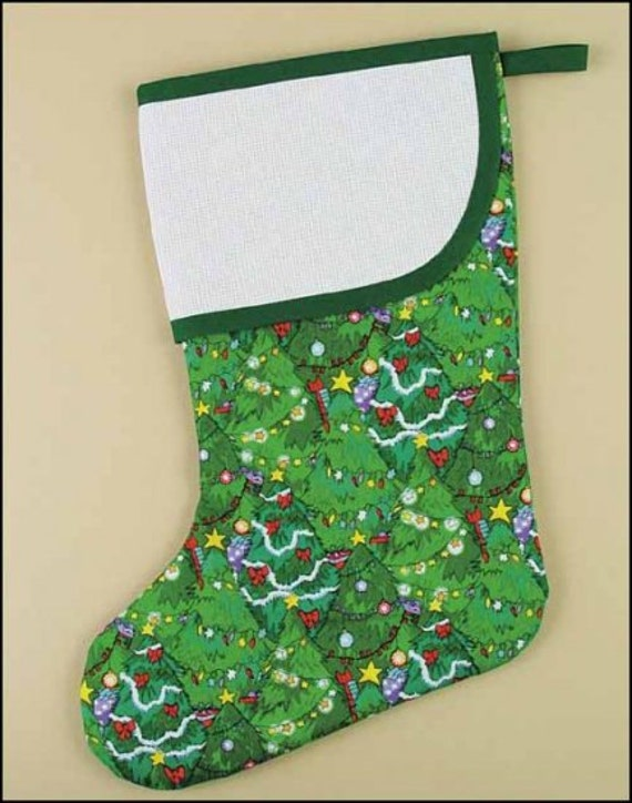 Aida cuff stocking cross stitch large green by craftsynotions for Charles craft christmas stockings