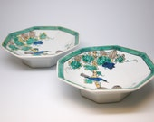 Set of Two Chinese Octagonal Porcelain Standing Plates