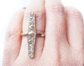 Art Deco Champagne Diamond Ring Antique Vintage 18k Gold And Platinum Ring