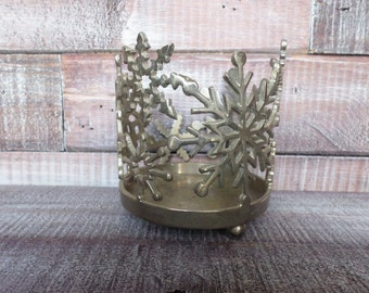 Vintage Aluminum Snowflake Candle Ring / Sleeve