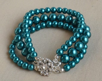 teal pearl Bracelet, Glass Pearl Bracelet,3 rows Pearl Bracelet,Wedding Bracelet,Bridesmaid Bracelet,Jewelry,Maid of honor jewelry