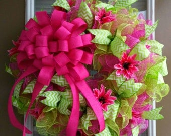 Spring & Summer Pink and Green Floral Deco Mesh Ruffle Wreath