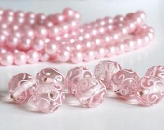 Pink Tenderness glass beads, lampwork beads, transparent, pink glass, handmade beads, pink beads, murano glass, jewelry supply, beads