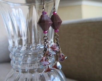 marsala earrings, wine earrings, amethyst earrings, marsala jewelry, long marsala earrings, floral earrings, flower earrings, long earrings