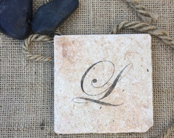 Monogram Stone Coasters, Set of four