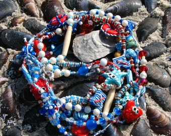 Sea Necklace Marine Beads Beads Ocean Starfish Necklace Lifebuoy Beads Beads Crab Octopus Necklace Summer Necklaces Natural Stone  for her