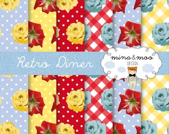 Retro Diner digital papers, 1960s diner table cloth papers
