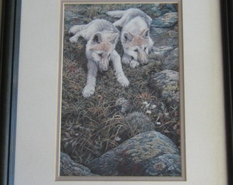 JOHN SEEREY LESTER, art print 9 x 6, Children of the Tundra, Arctic Wolf Cubs,14.5 x 12 frame, Mailed from Canada