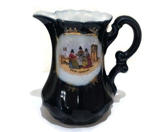 Victorian Welsh Costume Jug Vintage British Housewares Made in Staffordshire, England