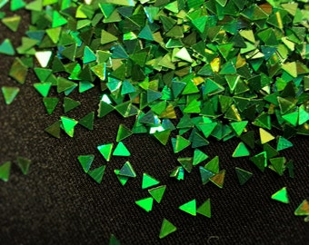 solvent-resistant glitter shapes-green hologram triangles