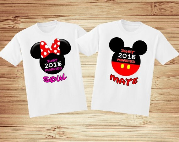 Matching Just Married Soul Mate Disney Vacation Tshirts - honeymoon shirt wedding