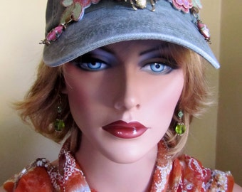 Stunning Sonewashed Olive Green Baseball Cap Adorned with Flowers,Sequins, and Vintage bumble bee brooch