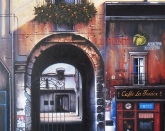 """Old building painting oil painting on canvas 32""""X48"""""""