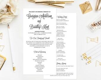PRINTABLE Wedding Programs - Modern Calligraphy Ceremony Programs - Whimsical Retro Script Wedding Programs - Customizable Colors - 4 x 8