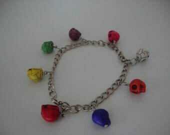Mexican sugar skull charm bracelet