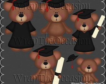 Red/Black Graduation Bears Clipart