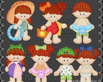 Summertime Fun Redhead Kids Set1 - CU Clipart