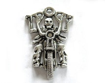 Large Skeleton Biker Charm - Motorcycle Charm