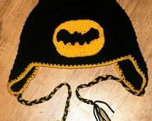 Batman Inspired Hand Crocheted Hat