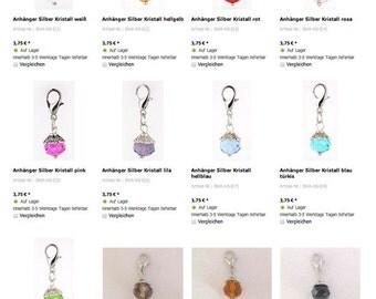 Crystal bead pendant, name jewelry, Soulwindow, swing, silver
