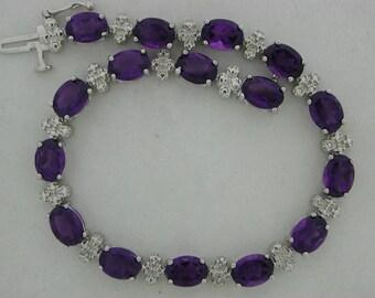 Natural Amethyst Diamond Bracelet 925 Sterling Silver