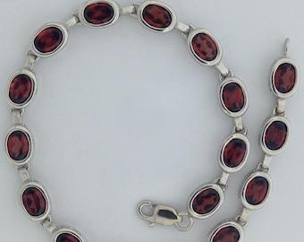 Natural Garnet Bracelet 925 Sterling Silver