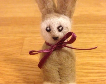Needle Felted Easter Bunny with bow
