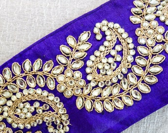 Gold Embroidered Paisley Vine Pattern on Violet Silk Dupioni Ribbon with Clear Rhinestone Trim
