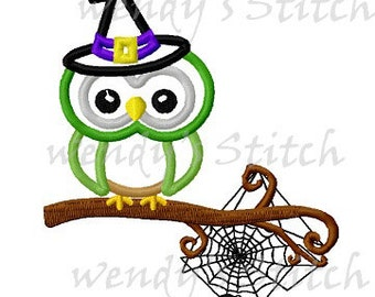 Halloween witch owl on spider tree applique machine embroidery design