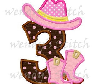 set of 9 cowboy cowgirl applique numbers machine embroidery designs