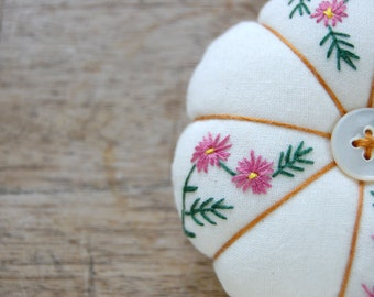 Embroidered Pincushion in your Chosen Colour - Made to Order
