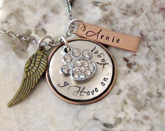 Angel Dog Cat Pet Remembrance Hand Stamped Personalized Necklace - Rainbow Bridge