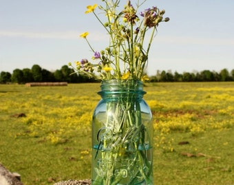 Antique Blue Jar with Wildflowers on Fence Print
