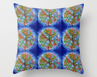 blue bedroom art , blue art, blue tree art, blue throw pillow cases, blue art prints, art prints with blue tree of life, blue cushion cover