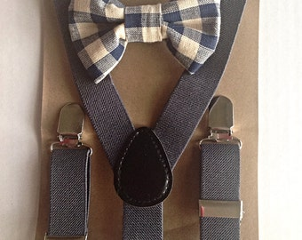 Little boys grey suspenders and matching bow tie set