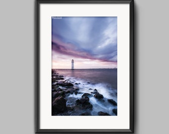 Sunset over New Brighton Lighthouse, Wirral, a fine art photograph